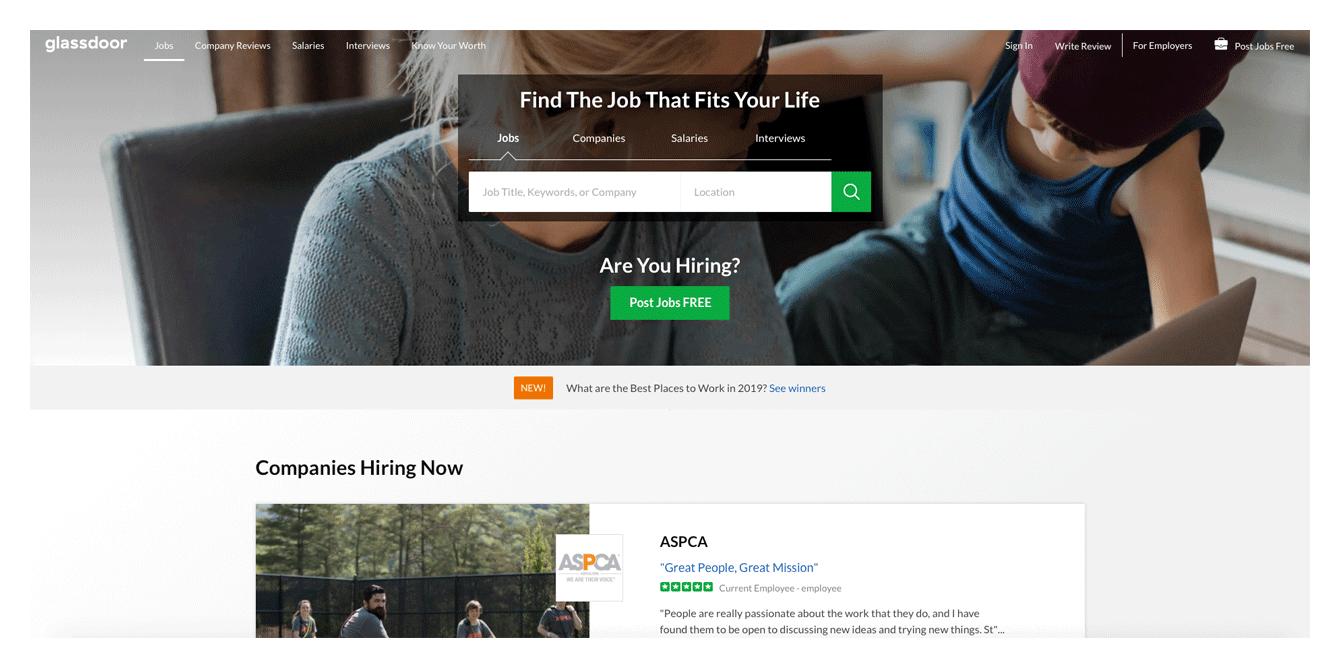 Main page screenshot of glassdoor website