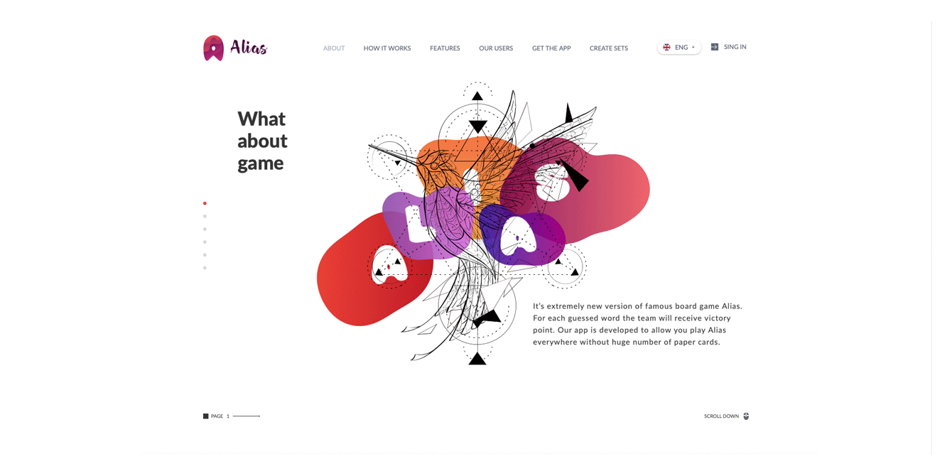 Landing page Alias game