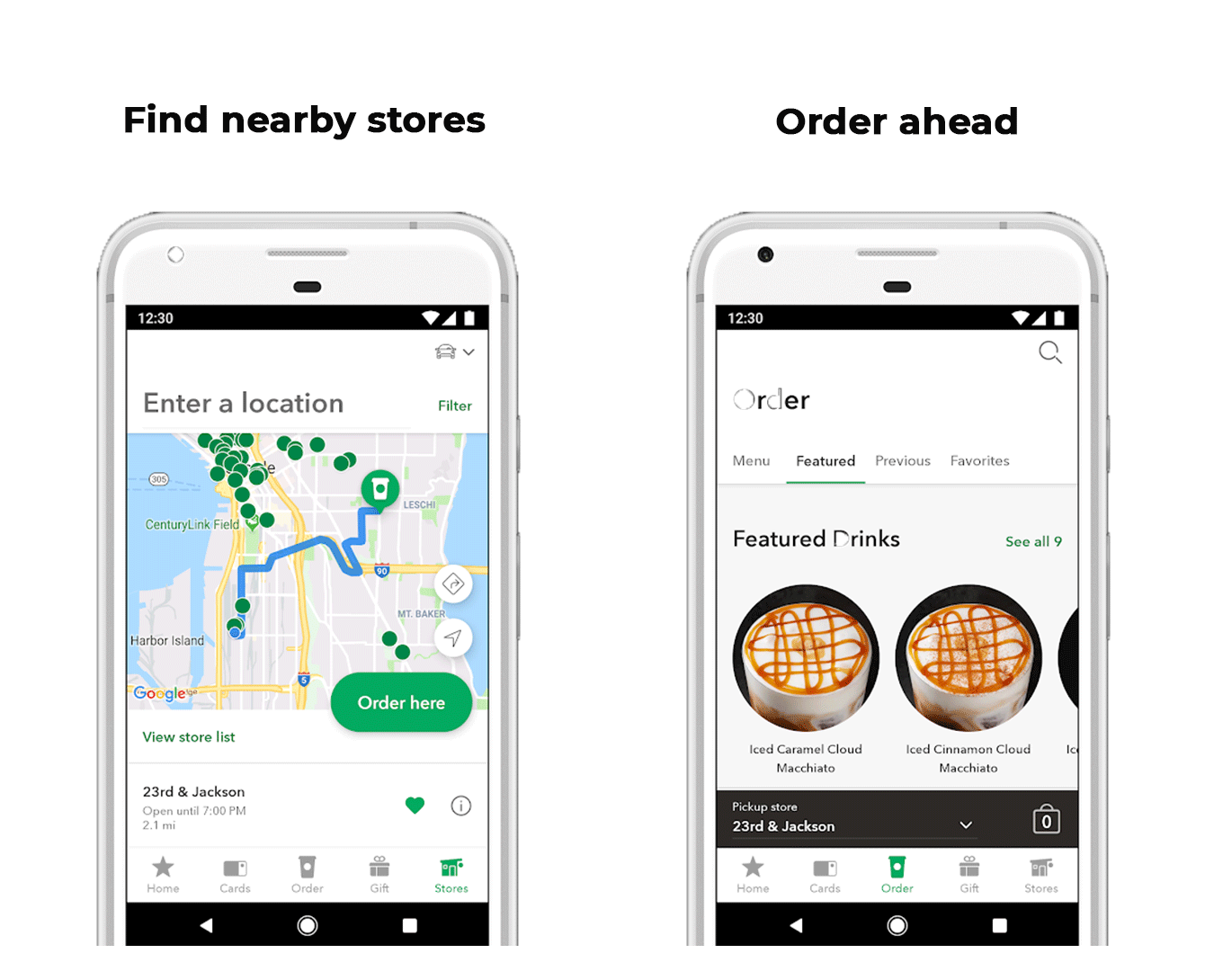 Fast-food restaurant automation at Starbucks: order ahead, pay for an order, enter a pickup location, and pick up your order