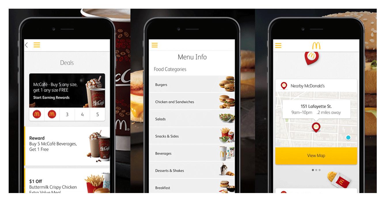 Geolocation capabilities of the McDonald's app: Finding nearby McDonald's