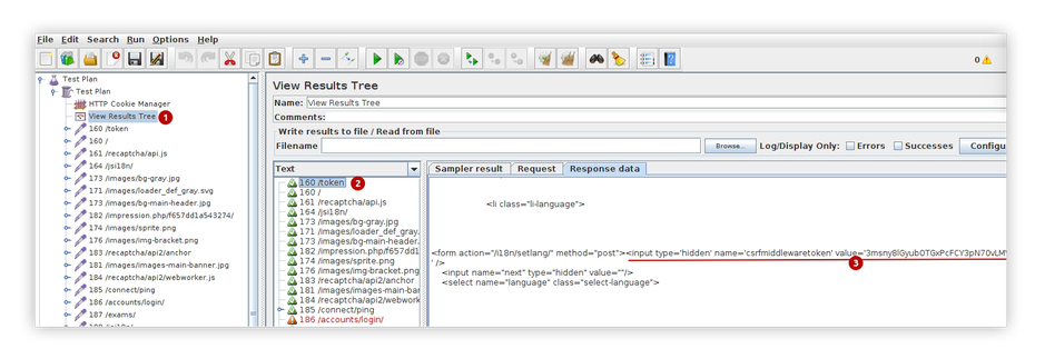 pic.8. Find tokens value in Response Data of GET request