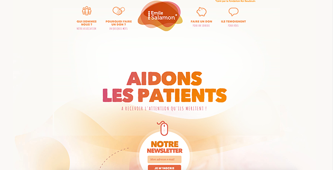 The home page of Fonds Salamon that uses soft and neutral colors in its design to not draw too much attention
