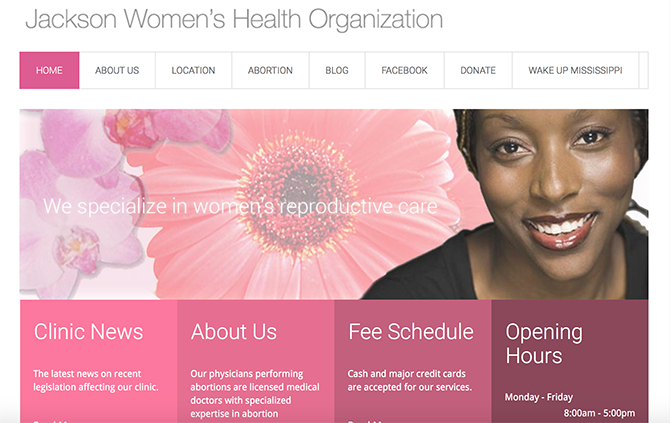 The home page of Jackson Women's Health Organization ― a healthcare website that provides family planning services ― that utilizes pink color palette in its design