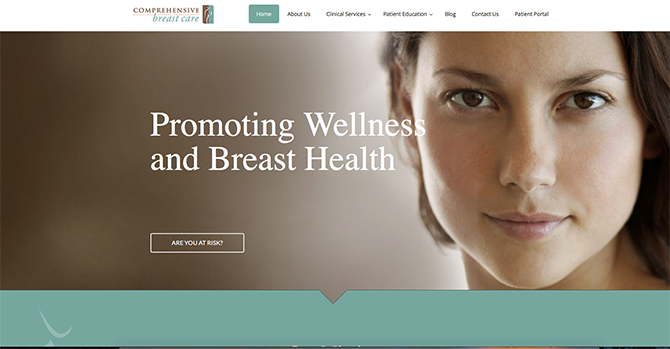 The home page of the Comprehensive Breast Care Center website that utilizes soft colors in its medical website design