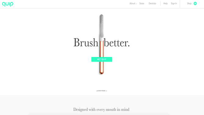 The home page of Quip, a medical website that uses different shades of white in its design