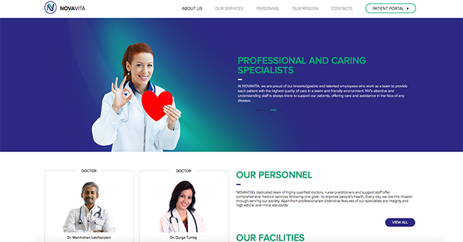 The home page of Nova Vita, a healthcare website that utilizes blue in its design