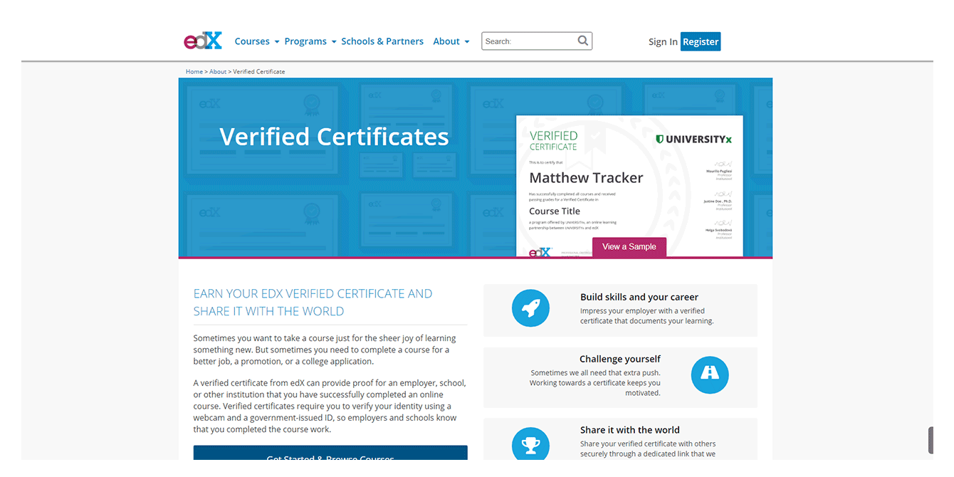Certificates and honors in online marketplace