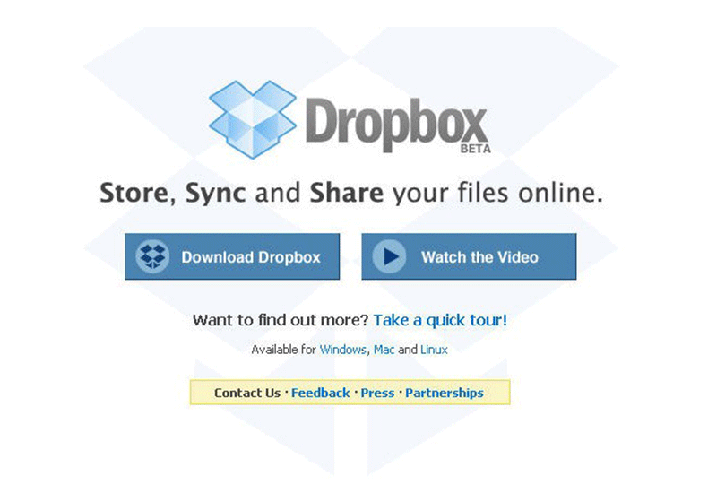 Dropbox's first landing page