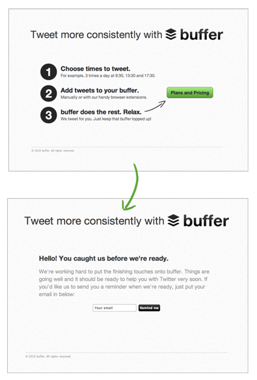 First landing page for Buffer