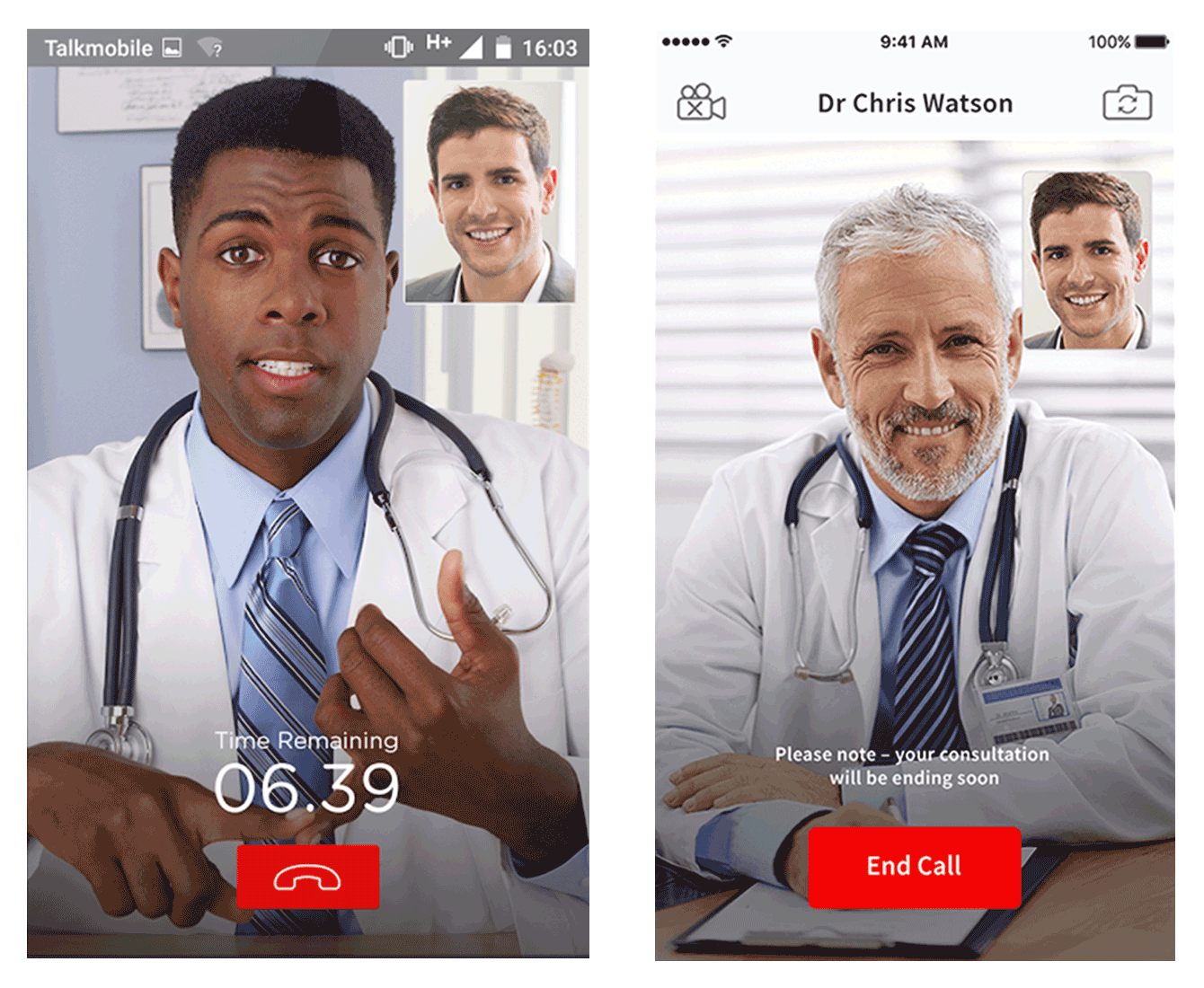 Patient talking to a physician via a video chat with Dr Now, a doctor on-demand app
