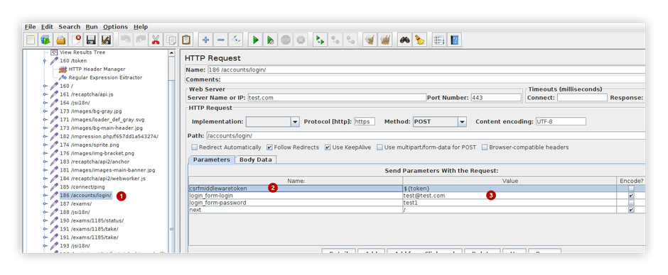 pic.10. Put csrf token to HTTP request as variable value for login