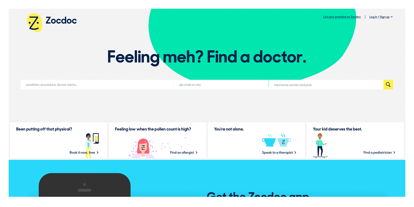 The search bar for Zocdoc to help patients find and book an appointment with a local doctor.