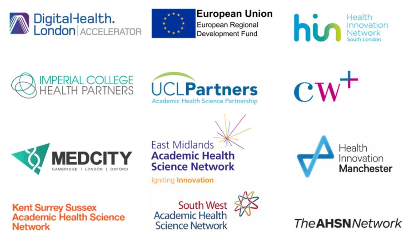The logos of digital health accelerators and digital health incubators.
