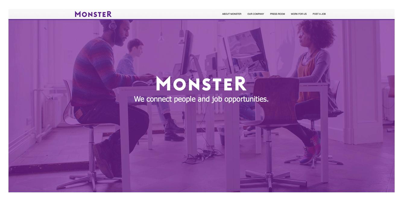 Main page screenshot of monster website