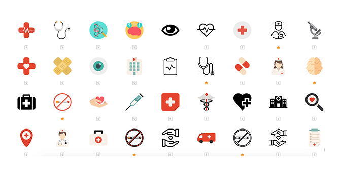 The set of icons commonly used in medical apps
