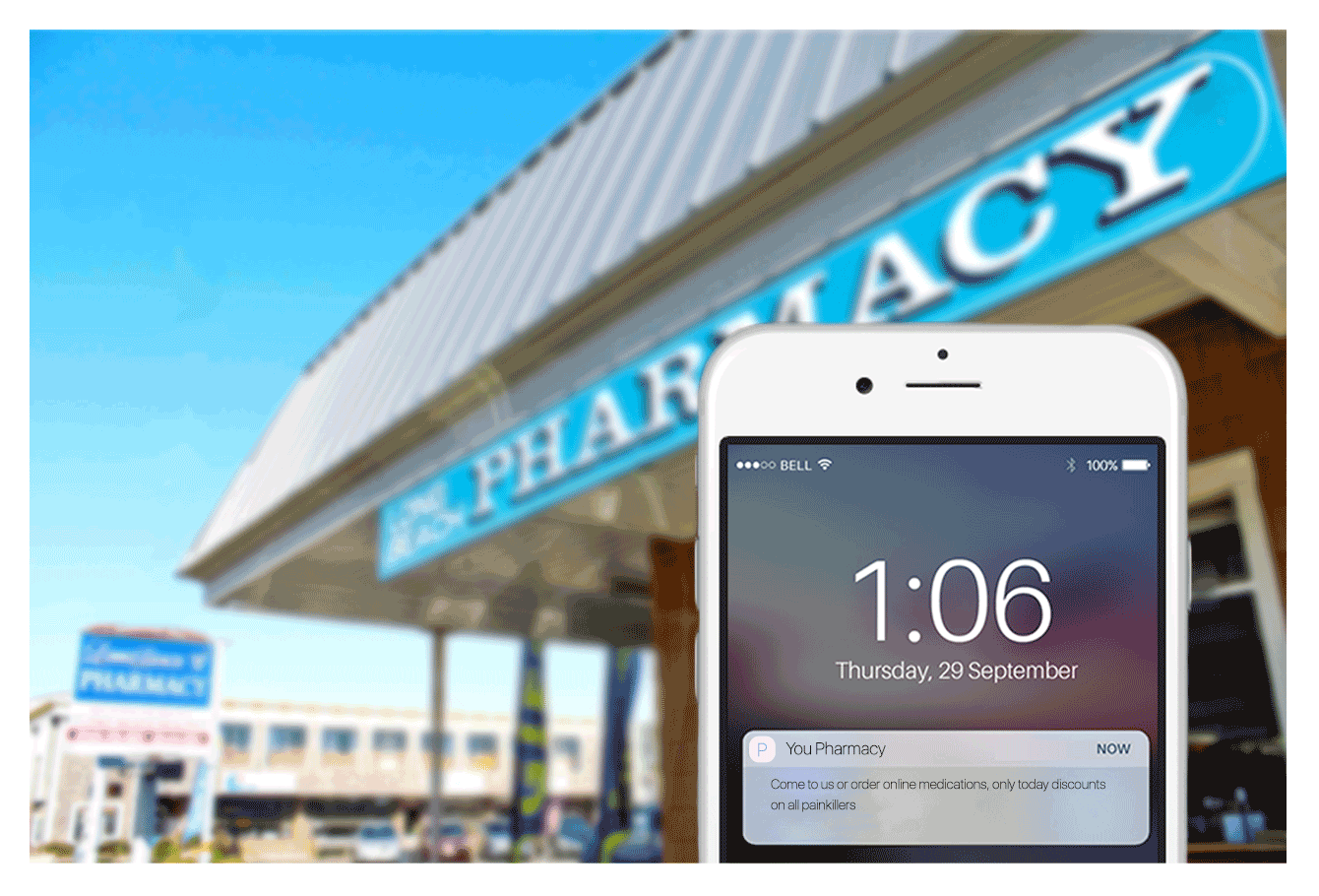 A healthcare mobile application is using a geolocation feature to target ads when a patient passes by a store.