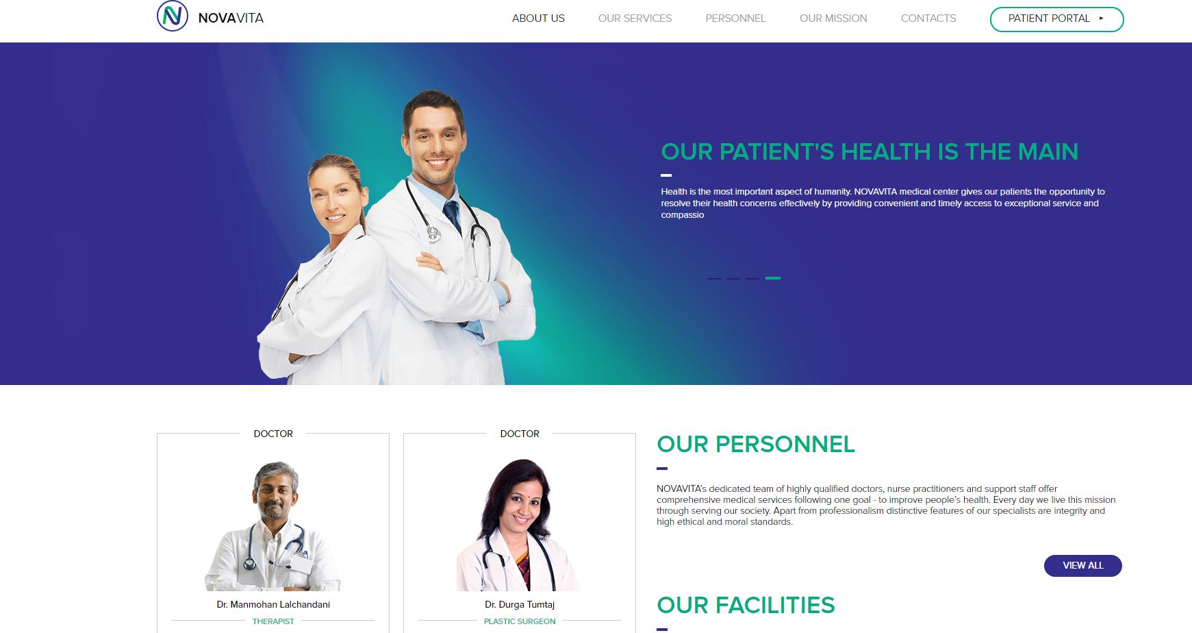 The homepage of Nova Vita