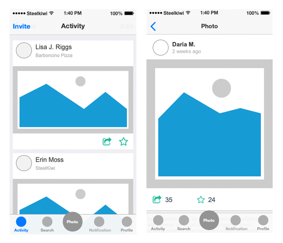 High-fidelity interactive wireframes that help you interact with an app.
