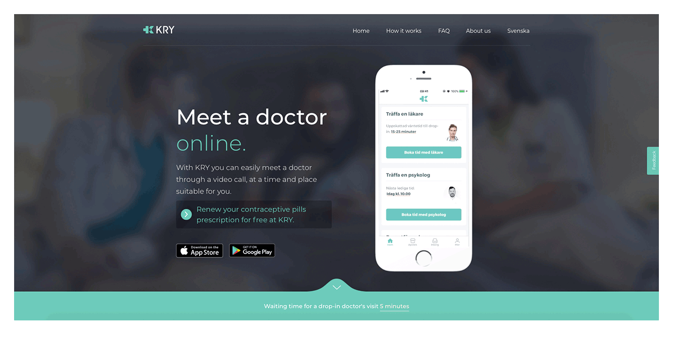 The telehealth application allows a female patient have a consultation with an online doctor.