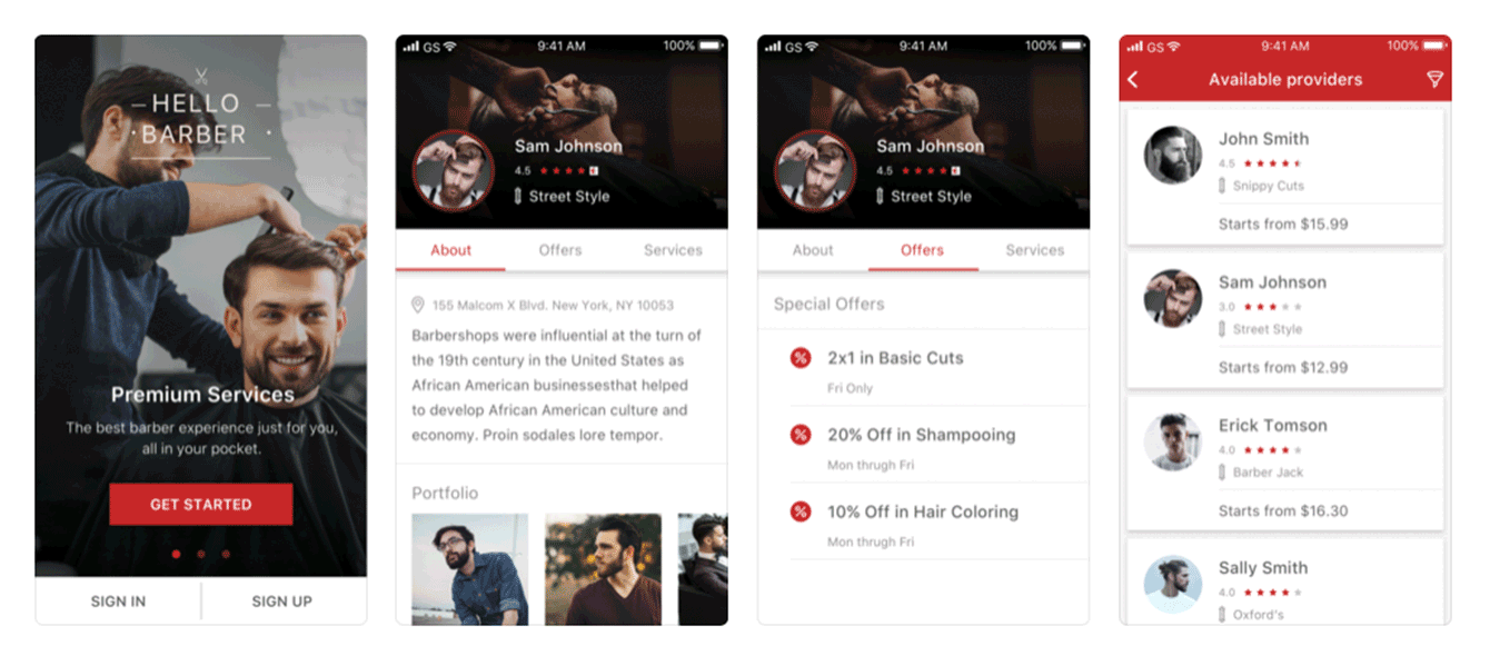 Online marketplace for on-demand barber services