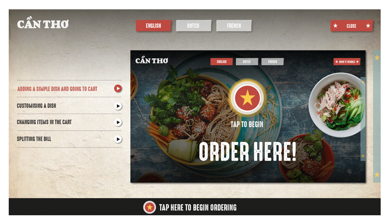 The welcome screen of the Can Tho app for self-order kiosks