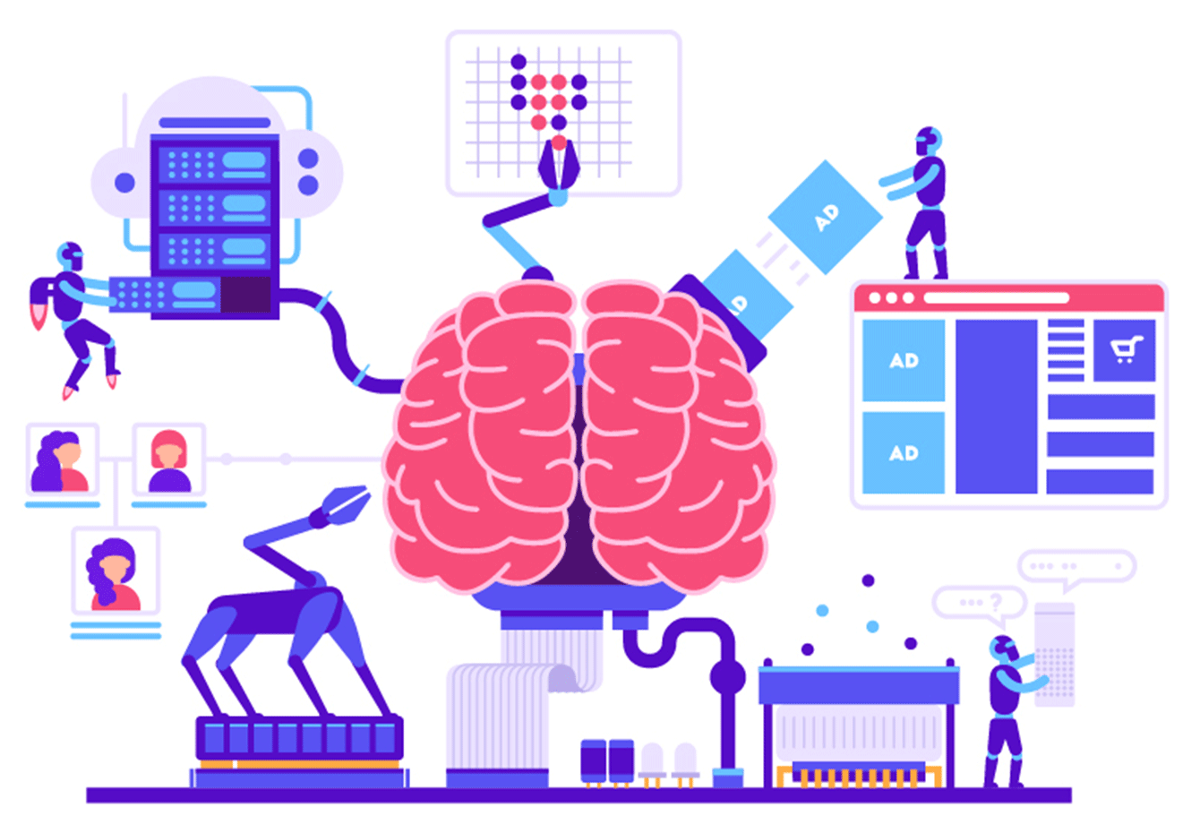 Artificial intelligence works like a human brain.